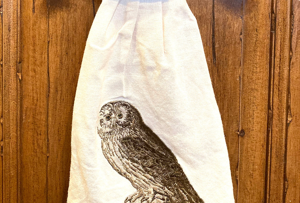 Embroidered linen hand towel w OWL design