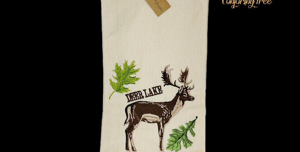 Embroidered linen hand towel w Deer design