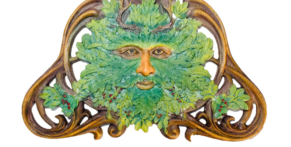 Green Man Winter Mistletoe Wall Plaque: Veronese Collection