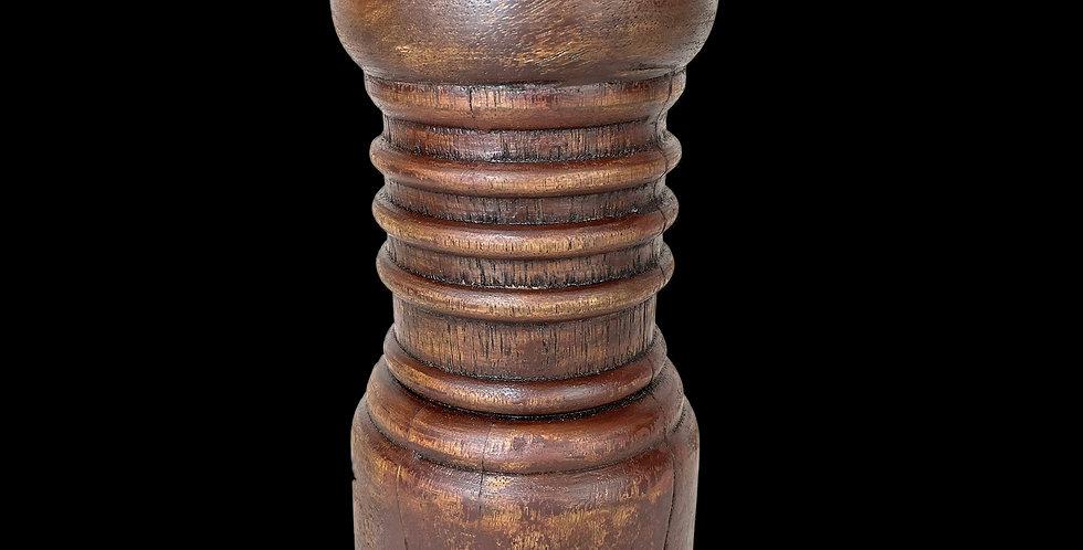 Rustic Mahogany pillar candlestick