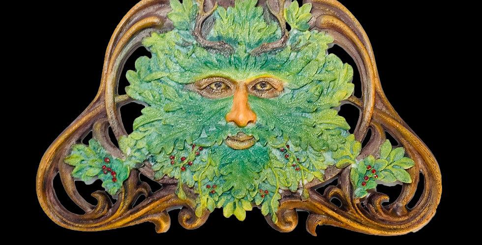 Green Man Winter Mistletoe Wall Plaque: Veronese Collection
