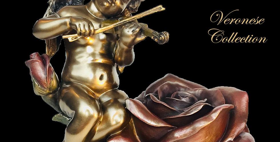 Cherub and Rose Trinket Box Bronze Statue: Veronese Collection