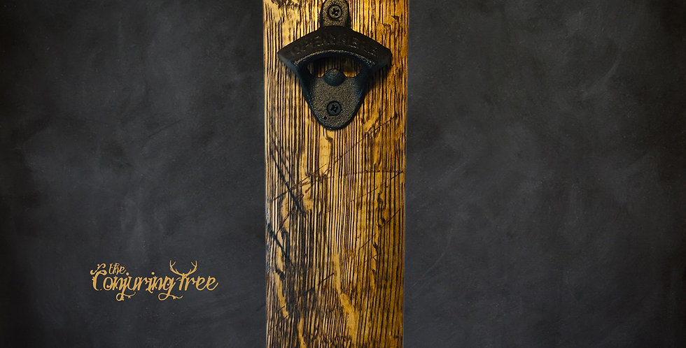 Rustic Oak Whiskey Barrel Bottle opener