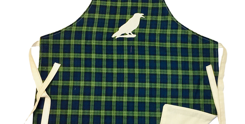 """Home-made  green & blue plaid""""Crow"""" Kitchen apron"""