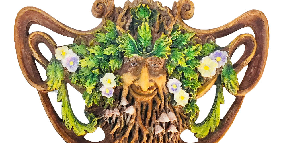 Green Man Spring Mushroom Wall Plaque: Veronese Collection