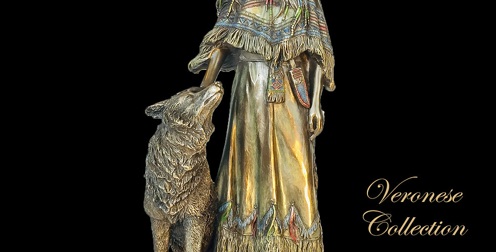 Indian Woman Petting Wolf Bronze Statue: Veronese Collection