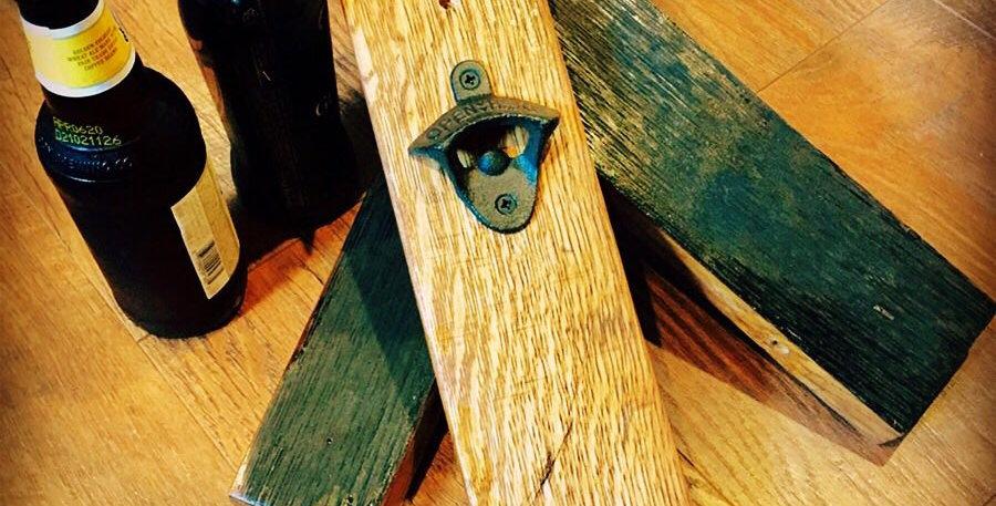 Rustic Oak Whiskey Barrel Bottle opener
