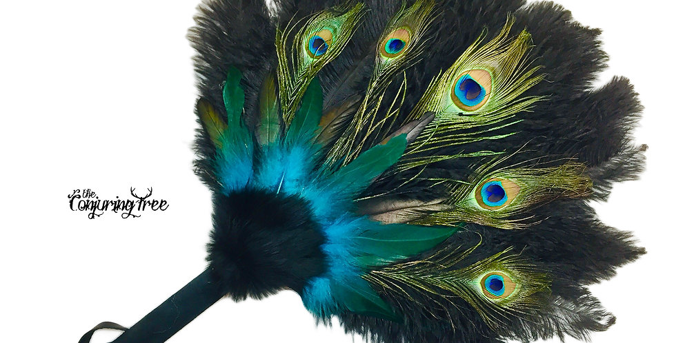 Black Peacock - Feather Smudge Fan
