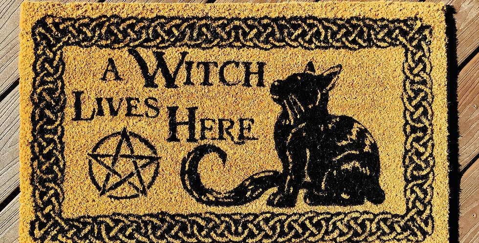 Witchy  Cat Doormat - A Witch Lives Here