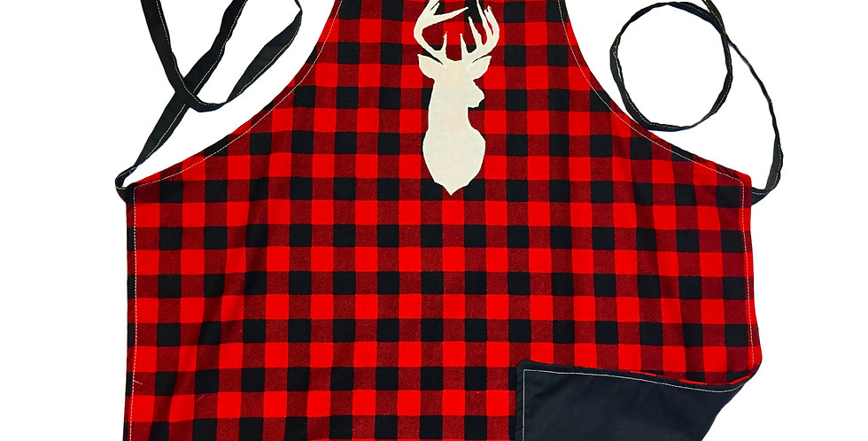 Home-made Red & Black Plaid Kitchen apron (Stag or Cat)