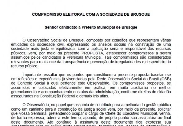 Conheça compromissos que OSBr irá propor aos candidatos a prefeito