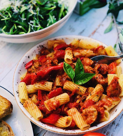 Sausage Pasta Recipe - guest post by @sydneyveganguide