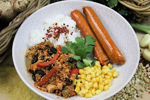 Smokey Chippotlie sausages , with Sofritas, on a side of rice and steamed corn