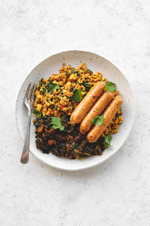 All Day Original Sausages, Scrambled Tofu w/ Kale and Raisin Sate'.
