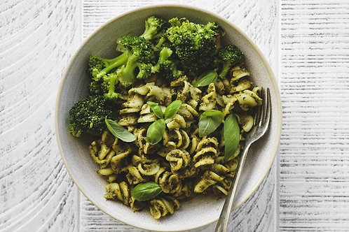 Basil Pesto Pasta with steamed Broccoli