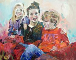 Schilderij Zussen en broer in rood
