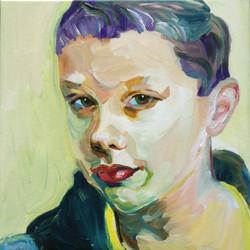 Schilderij Luc met paarse kuif
