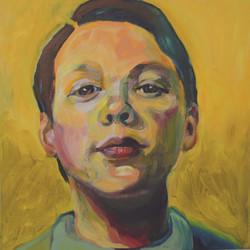 Portretschilderij Luc in geel