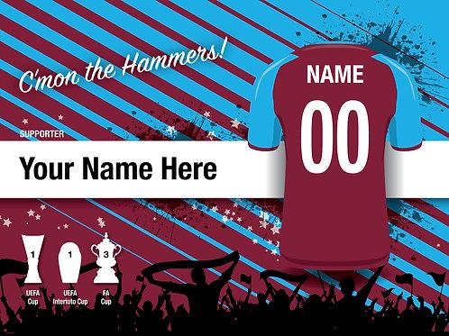 "Framed West Ham Fan Print 7""x 5"""