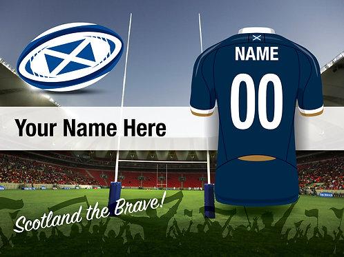 """Framed Scotland Rugby Fan Print 7""""x 5"""""""