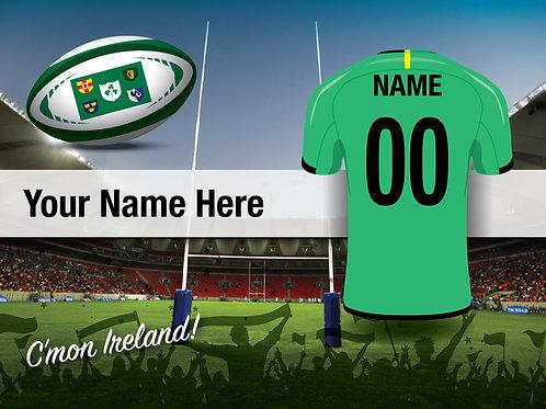 """Framed Ireland Rugby Fan Print 7""""x 5"""""""