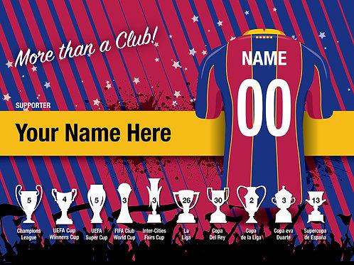 """Framed Barcelona Fan Print 7""""x 5"""""""
