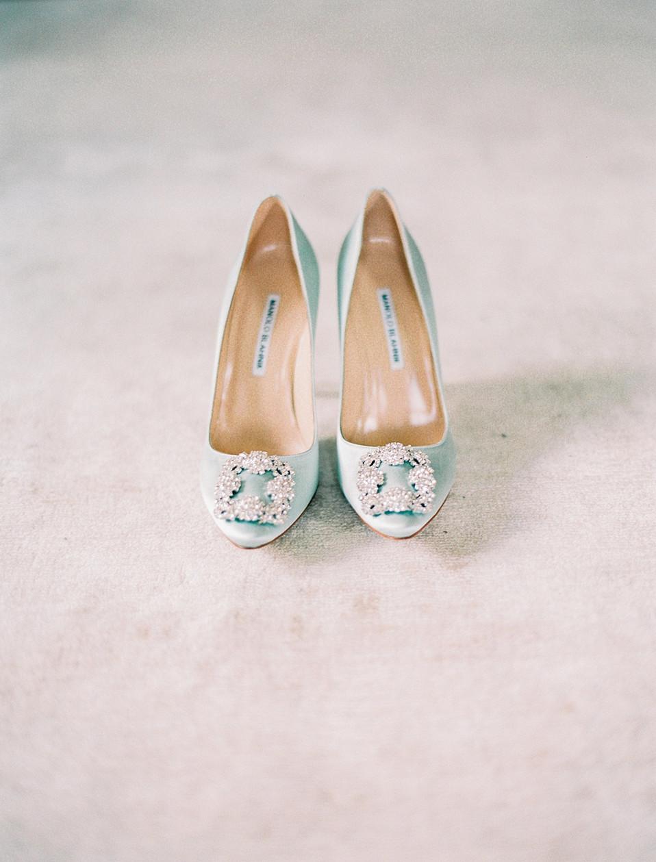 Blue bride shoes