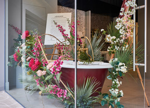 FLORAL WINDOW INSTALLATION FOR PERRIN & ROWE IN CHELSEA DESIGN CENTRE