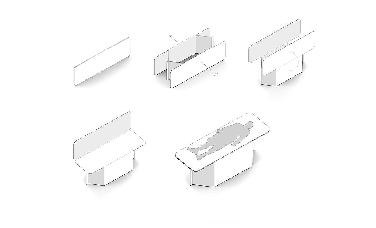 Cama sanitaria de cartón de montaje fácil, rápido y sin herramientas.