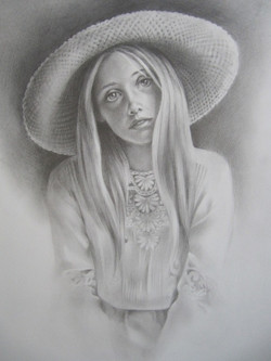 Girl in a Hat - graphite
