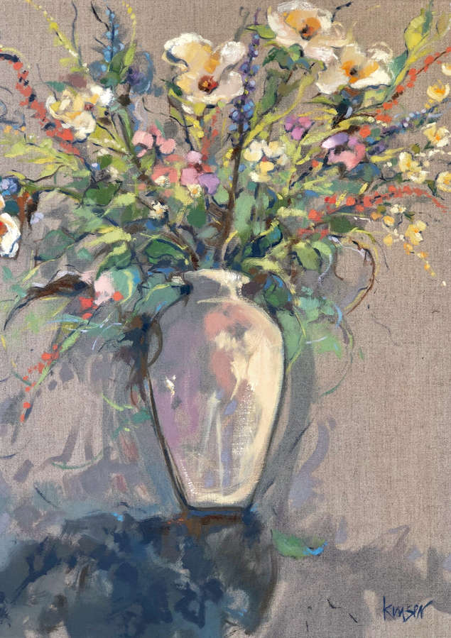 White Vase Memory.  Oil on Linen