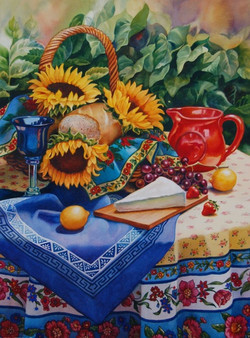 Sunflowers and Red Pitcher