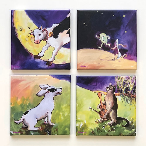 "SET of FOUR - 8"" Square Canvases  - 'Hey Diddle Diddle'"