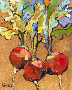 "3 Radishes 8""x10"" oil on canvas"