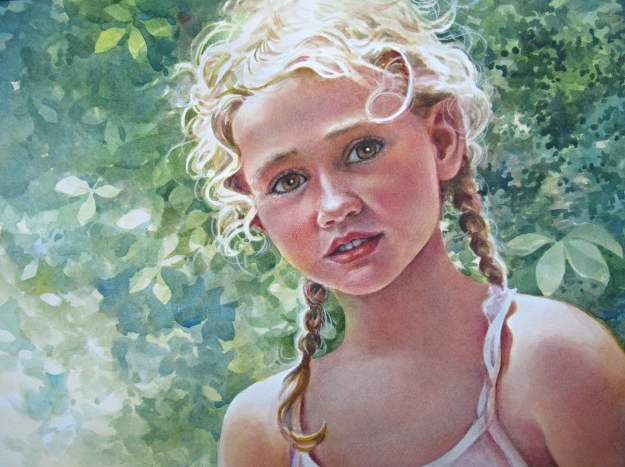 Portrait of Young Girl - watercolor