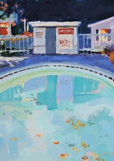 'Pool Rules'.  Oil on Panel