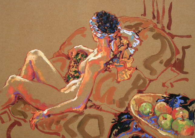 Nude with Green Apples