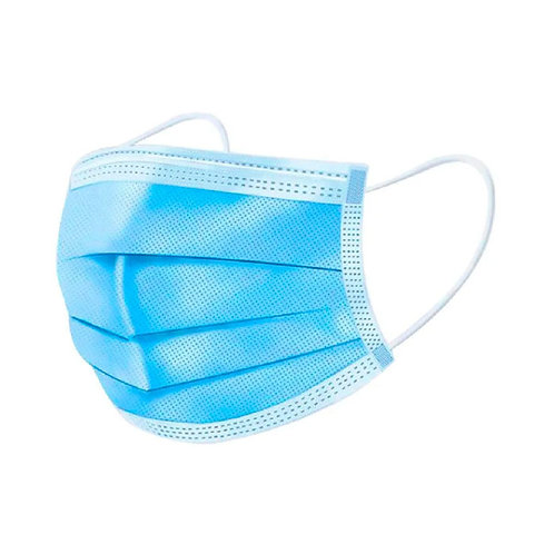 Cubrebocas tricapa plizado azul