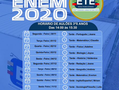 Aulões ENEM 2020 da ETE Arcoverde