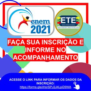 Acompanhamento de Inscritos ETE Arcoverde - ENEM 2021