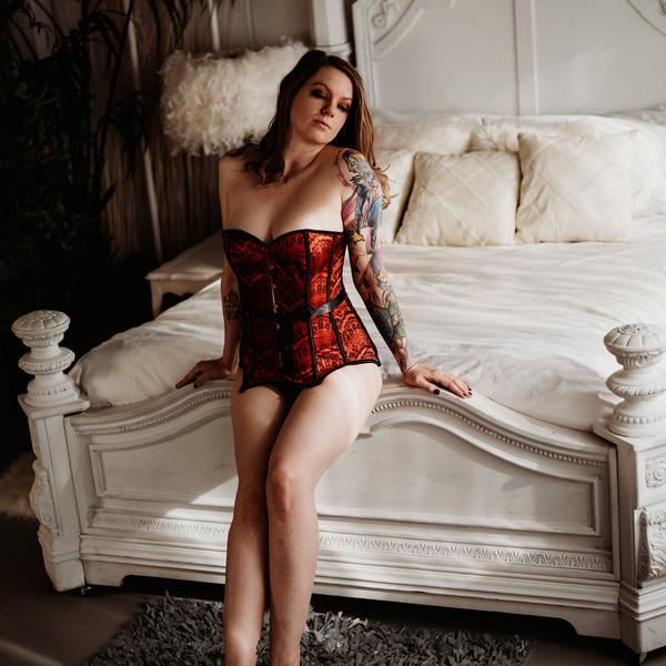 corset and heels