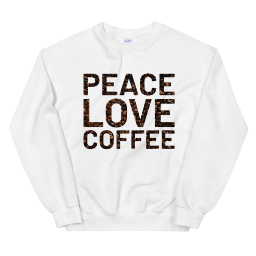 Peace and love on coffee bean background on a men's jumper