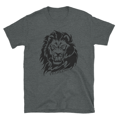Illustration of a black lion with the caption fearless on a women's top