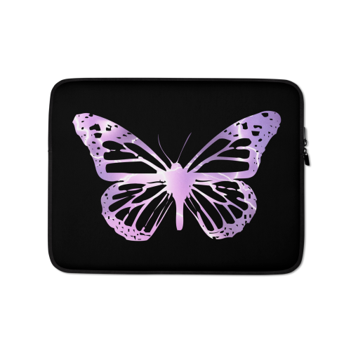 Electric purple butterfly design on a laptop sleeve