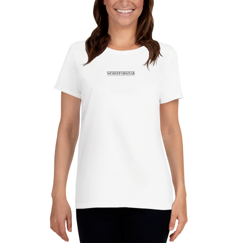 Stylish, slick looking Worse For Wear Clothing logo on a women's t-shirt