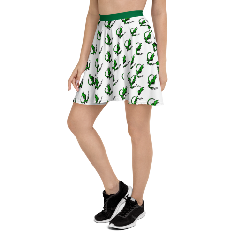 A cute little green dragon character on a women's skater style skirt