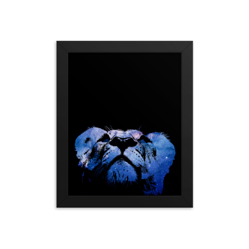 Illustration of a young lion made of stars on a framed poster