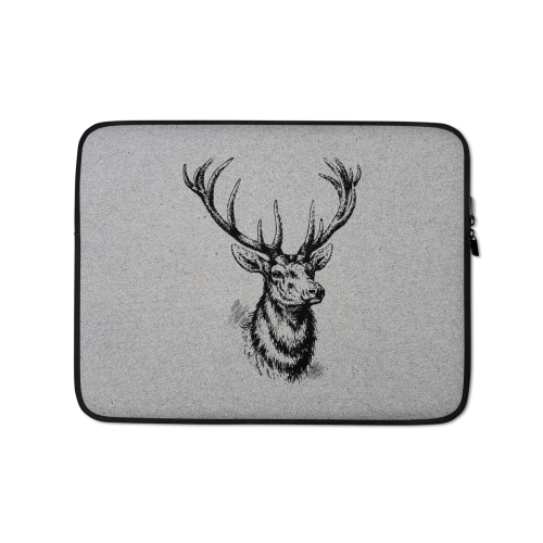 Graphic design of a sketched style deer on a fabric laptop sleeve
