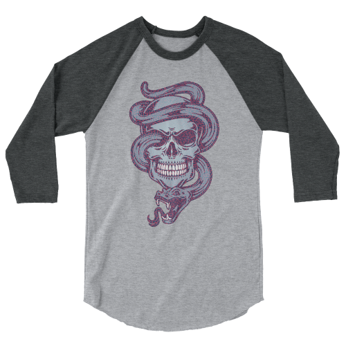 Tattoo style design of a purple snake coming out of a skull on a 3/4 length sleeve women's top