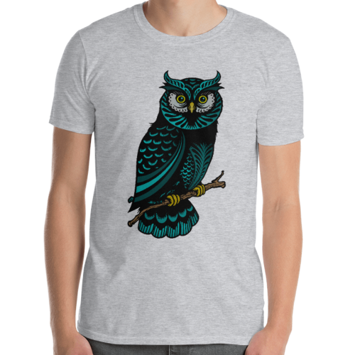Colourfully designed illustration of an owl on a men's t-shirt